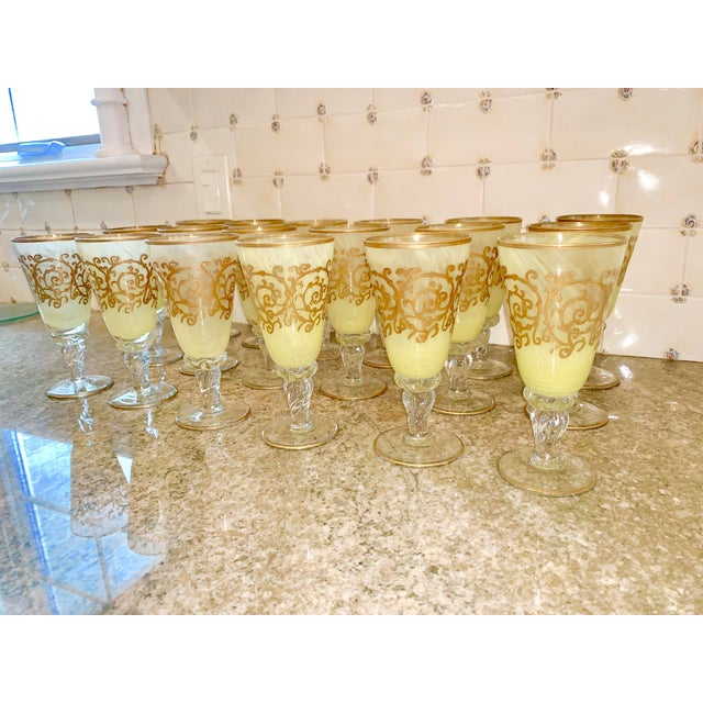 Murano Hand-Blown, Yellow/Chartreuse Ombré, Wine /Water Goblets - 3 Sets of 6 For Sale - Image 10 of 10