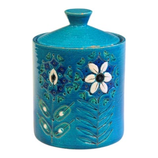 Vintage Bitossi Italian Pottery Raymor Rimini Blue Londi Ceramic Jar & Cover For Sale