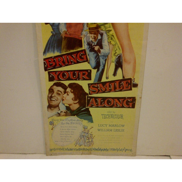 """""""Bring Your Smile Along"""" Vintage Movie Poster For Sale - Image 4 of 5"""