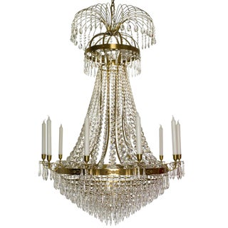 10 Arm Empire Crystal Chandelier in Amber Coloured Brass With Crystal Drops (Width 80cm/32 Inches) For Sale