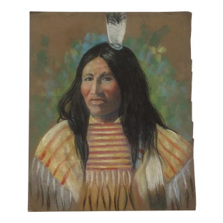 Vintage Mary Blaney White Native American Man Pastel Painting For Sale