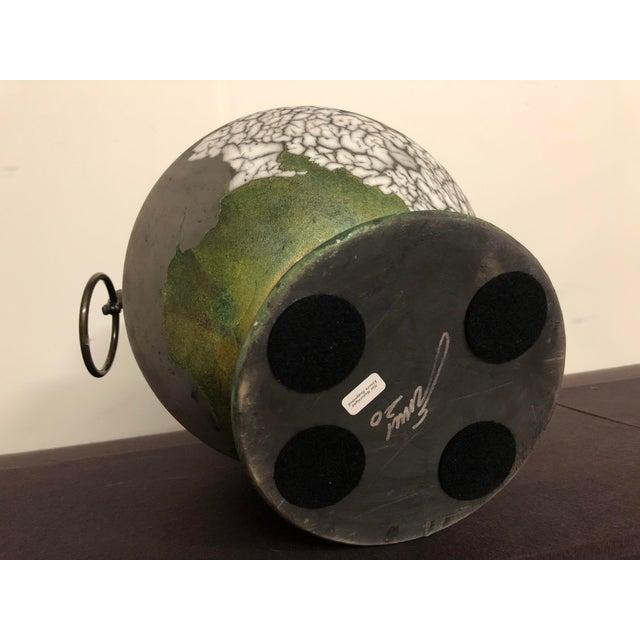 Tony Evans Raku Large Vase With Metal Horse Handles For Sale - Image 12 of 13