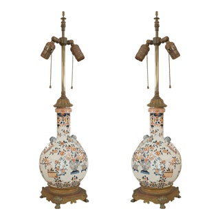 English Victorian Porcelain Table Lamps-a Pair For Sale