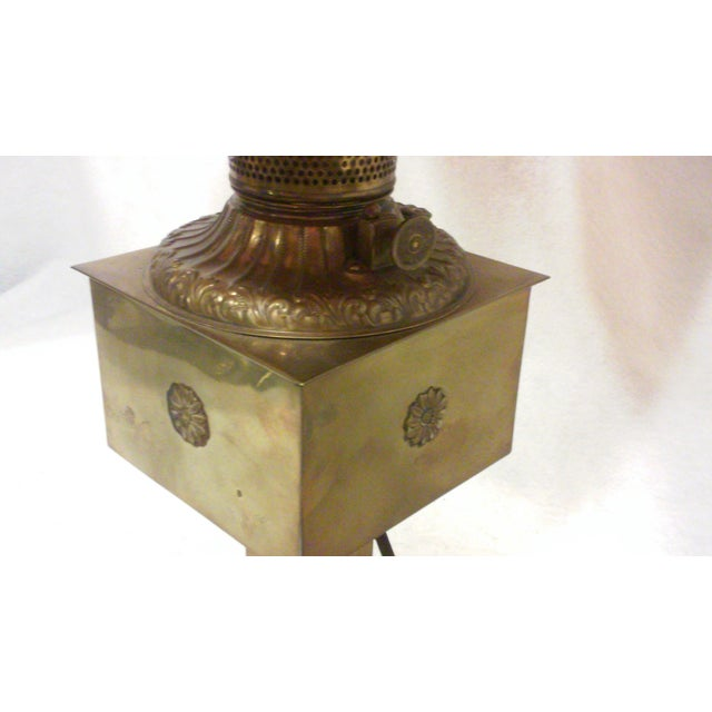 Antique Style Brass and Pink Slag Glass Lamp For Sale - Image 4 of 11