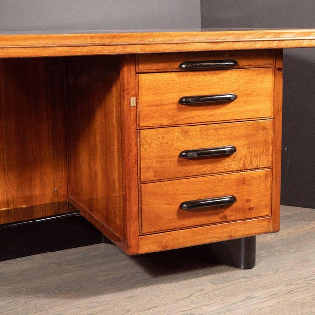 Art Deco Machine Age Bow Front Bookmatched Rosewood, Walnut & Black Lacquer Desk For Sale - Image 9 of 11
