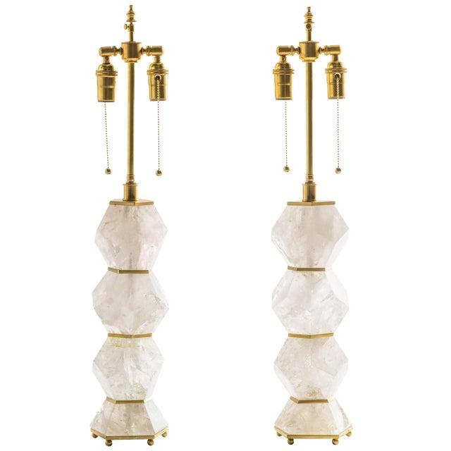 "Classic Rock Crystal Quartz Lamps - ""Eon Collection"" For Sale"