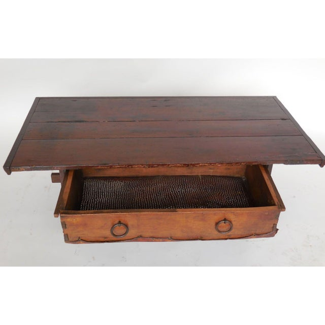 Rustic Coffee Table with Leather Bottom Drawer - Image 4 of 8