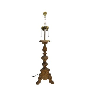 19th Century Baroque Carved Altar Candlestick Two-Light Table Lamp For Sale