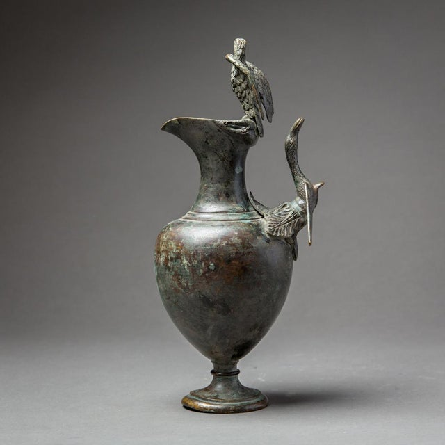 Bronze Ewer With Bird Finial and Handle For Sale - Image 4 of 9