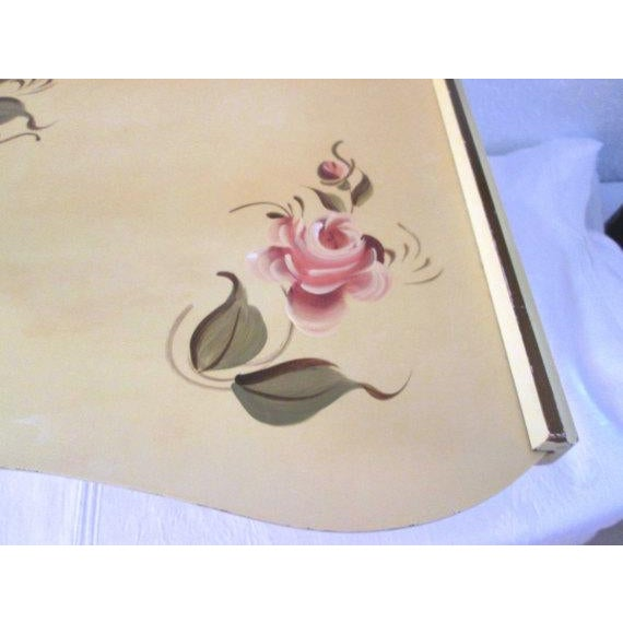 Vintage Tole Yellow & Rose Breakfast Tray - Image 4 of 6