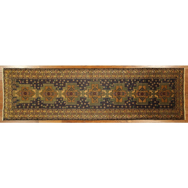"Navy & Tan Balouch Runner Rug - 2'11"" x 9'9"" - Image 2 of 10"