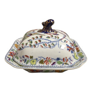 Blue and Red Floral Masons Square Covered Server For Sale