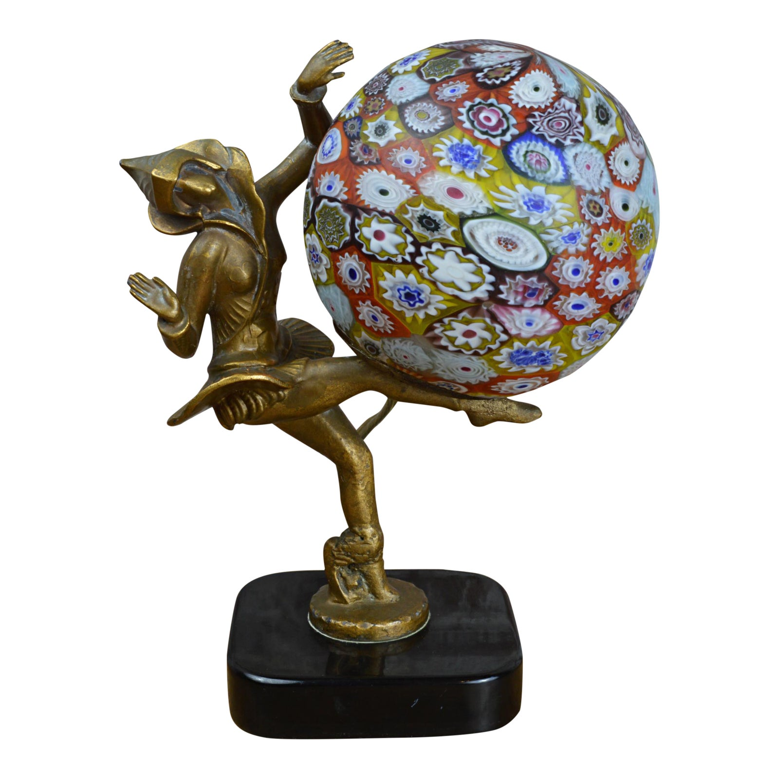 Art Deco Figural Lamp With Millefiori Globe After Gerda Gerdago
