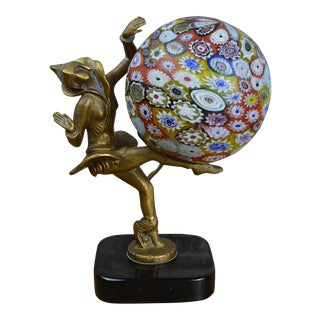 Art Deco Figural Lamp With Millefiori Globe After Gerda Gerdago