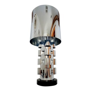 Signed Curtis Jere Skyscraper Interplay Chromed Steel Table Lamp For Sale