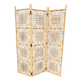 Vintage Burnt Bamboo Folding Screen For Sale