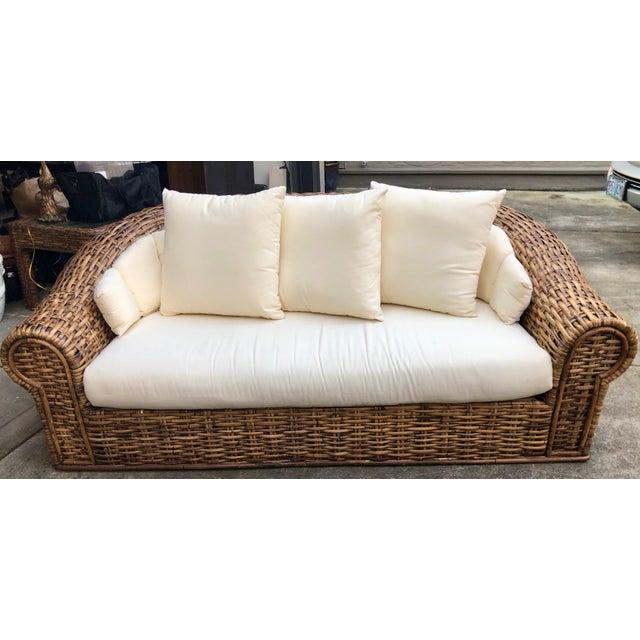 1980s Vintage Oversized Split Bamboo Sofa For Sale - Image 4 of 4
