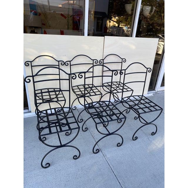 Wrought Iron Asian Inspired Set of 6 Patio Chairs For Sale - Image 4 of 13