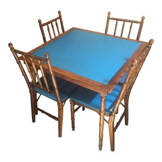 Faux Bamboo Folding Table and Chairs For Sale