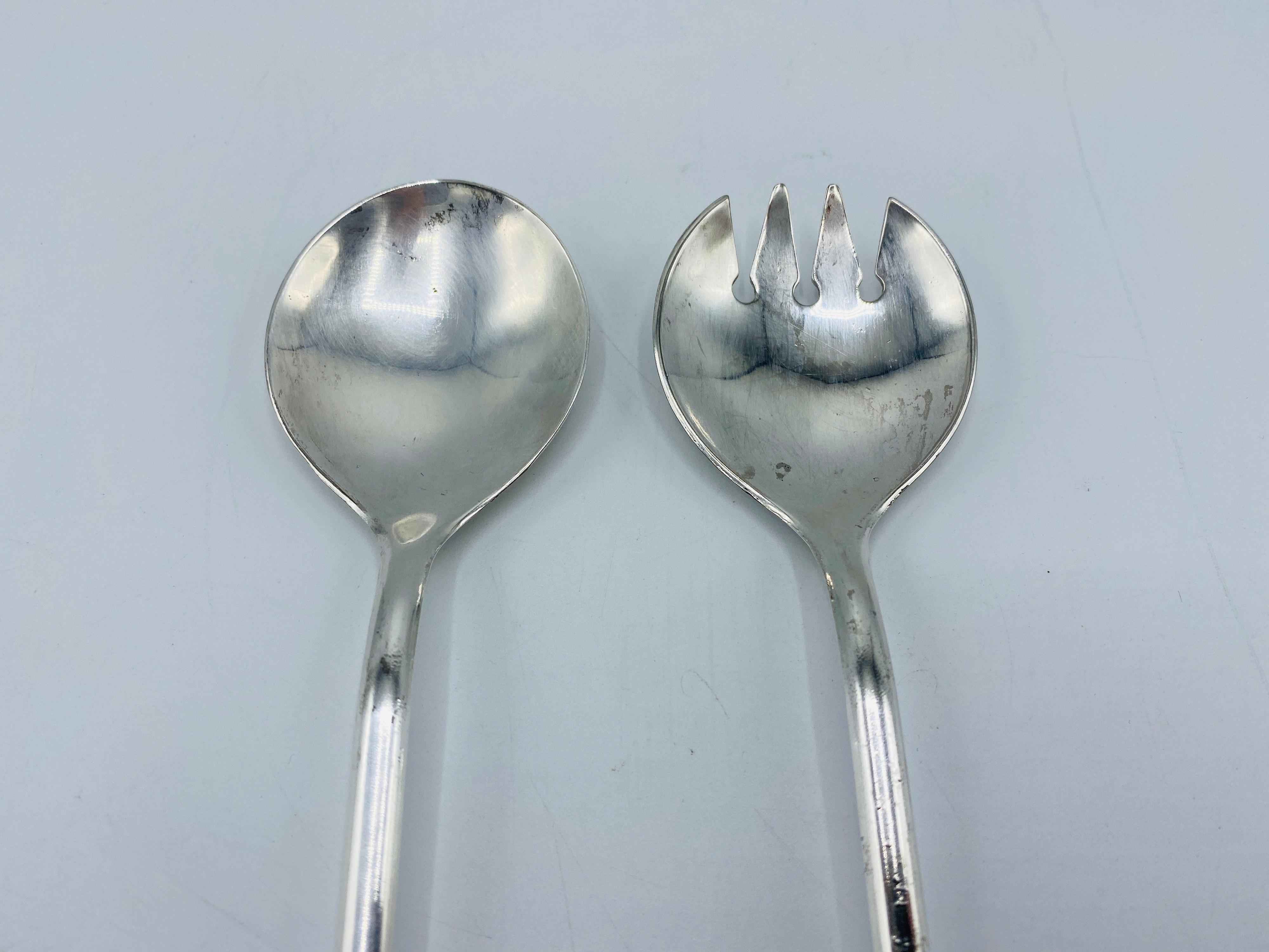 Silver Salad Serving Set Vintage 1960/'s Silver Plate Serving Spoon Fork Italy Dining Entertaining Serving Utensil