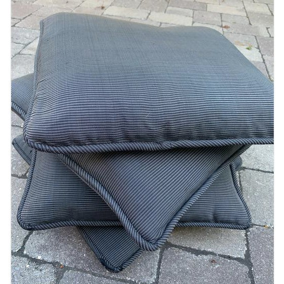 Custom made square accent pillows from a high-end Robert Allen silk blend black/gray in a striped look with silk slubs....