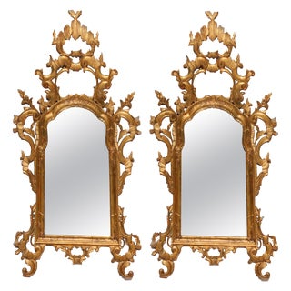 18th Century Antique Italian Baroque Giltwood Over Mantel Pediment Mirrors - a Pair For Sale