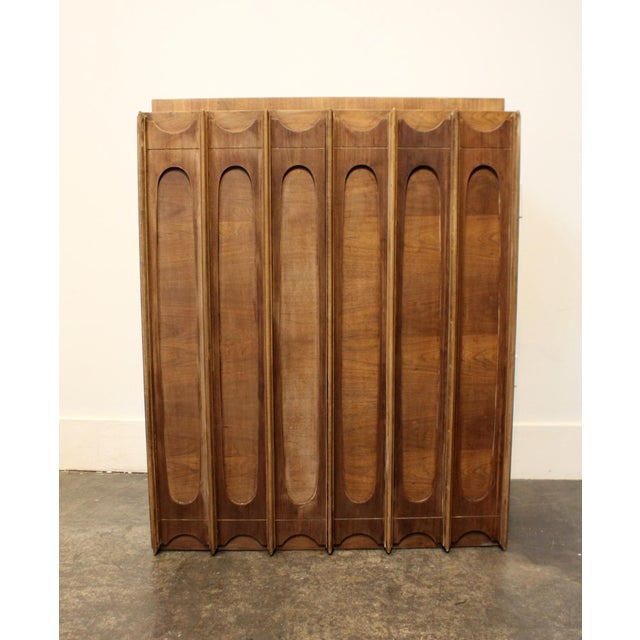 1970s Brutalist Wardrobe Chest on Chest in Natural Walnut, Brasilia Style For Sale - Image 9 of 12