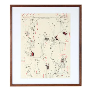 1967 Modernist Abstract Ink Drawing For Sale