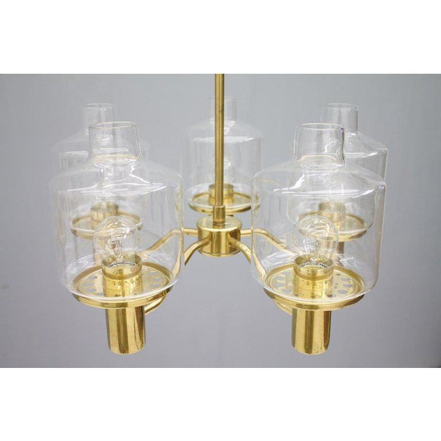 One of Two Brass and Glass Chandelier by Hans-Agne Jakobsson for Ab Markaryd Sweden For Sale - Image 10 of 13