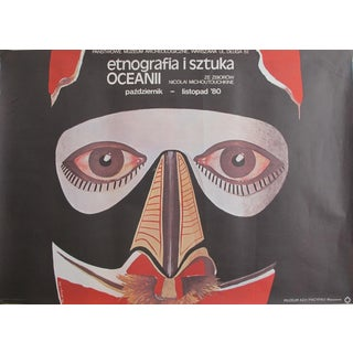 1980 Original Vintage Polish Exhibition Poster, Ethnography and Art of the East For Sale