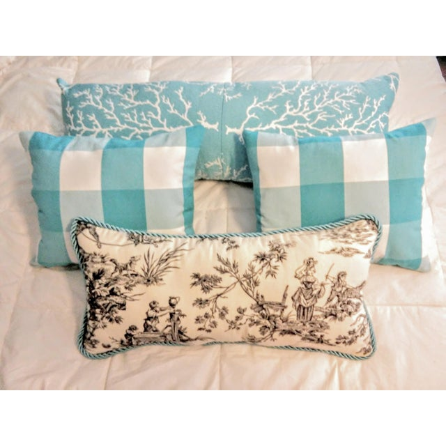 """Check the Toile and Coral!"" Pillows - Set of 4 - Image 2 of 7"