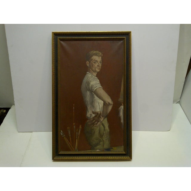 "This is an Framed Original Signed Painting On Canvas that is titled ""The Painters Boyfriend"" painted by Frederick McDuff...."
