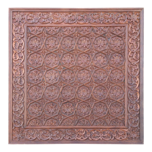1880s Carved Solid Teak Wood Ceiling From Temple in Deccan For Sale