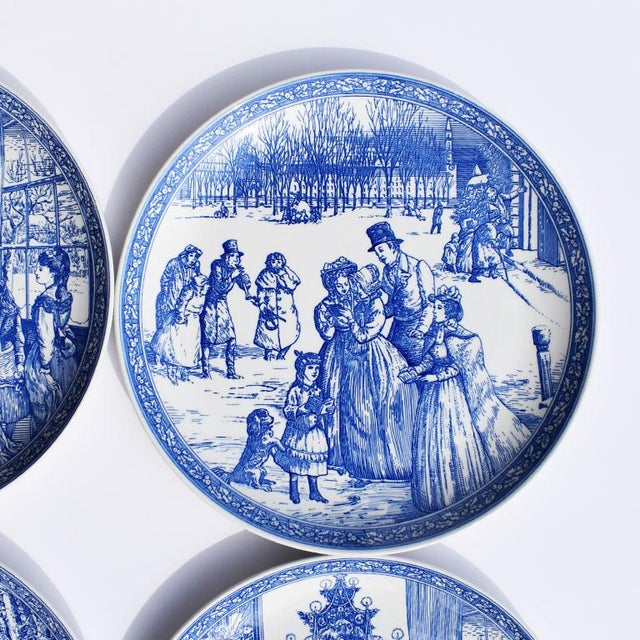 Mid 20th Century Spode Georgian Blue and White Ceramic Christmas Plates - Set of 4 For Sale - Image 5 of 12