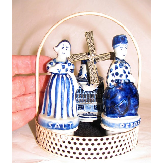 Blue Blue Delftware Salt and Pepper With Decoriative Windwill and Tray - Set of 4 For Sale - Image 8 of 12