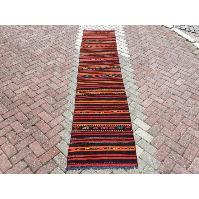 Vintage Striped Turkish Kilim Runner Rug For Sale - Image 10 of 10