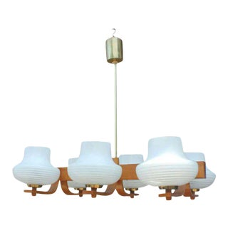 1940s French Modern Mahogany and Brass Six Light Chandelier For Sale
