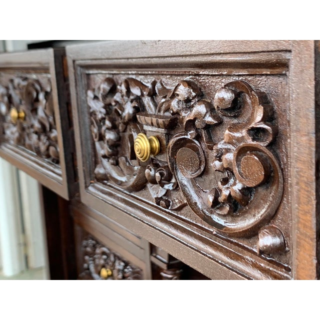 18th Spanish Bargueno of Columns With Foot Bridge, Cabinet on Stand For Sale - Image 10 of 13