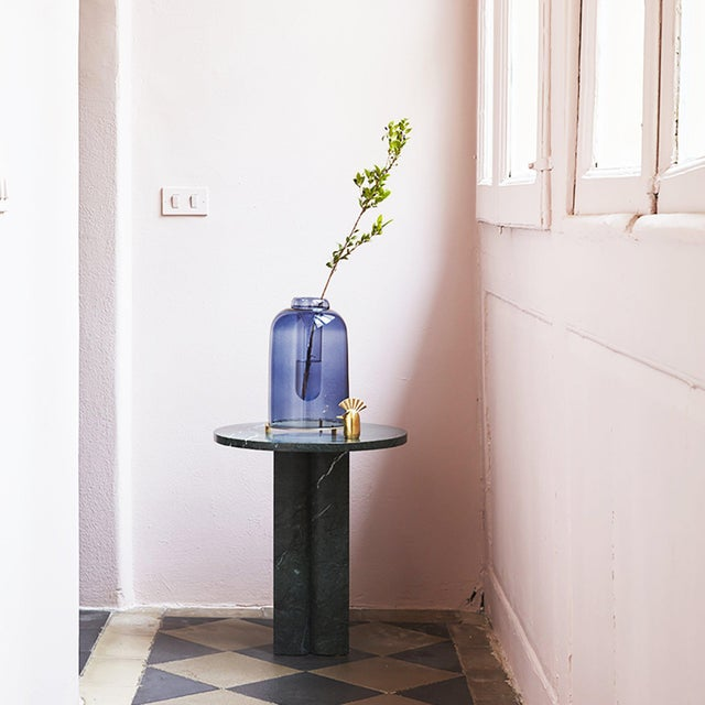 2020s Blue Blown Glass Vase the Short by Paola C for Design Italy For Sale - Image 5 of 6
