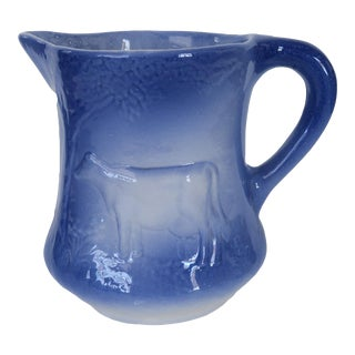 Antique Cow Blue and White Ironstone Pitcher For Sale