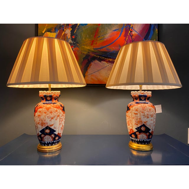 Antique Imari Lamps with Gilt Bronze Mounts - a Pair For Sale - Image 10 of 10