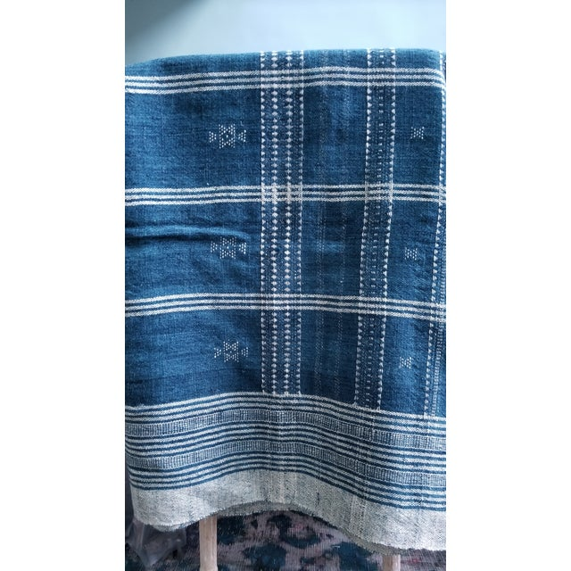 Indigo With Shell Kutch Throw For Sale - Image 4 of 7