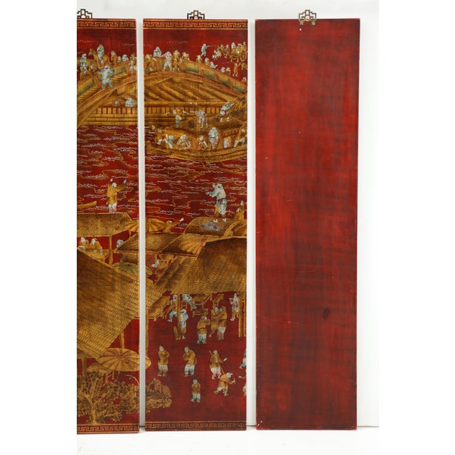 Mid 20th Century Red Lacquered Chinoiserie Panels - Set of 6 For Sale - Image 5 of 13
