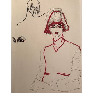 1980s Fashion Drawing in Marker For Sale