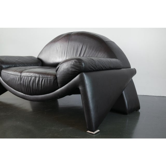 Late 20th Century Post Modern Italian Black Leather Sofa For Sale - Image 5 of 10