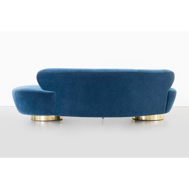 Metal Set of Vladimir Kagan for Directional Cloud Sofas Newly Reupholstered in Mohair For Sale - Image 7 of 12