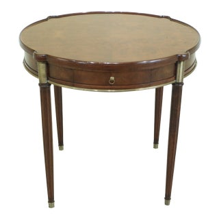 1950s Maison Jansen Style French Louis XVI Round Walnut Occasional Table For Sale
