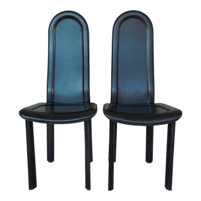 Vintage Artedi Italian Leather Chairs - A Pair - Image 1 of 7
