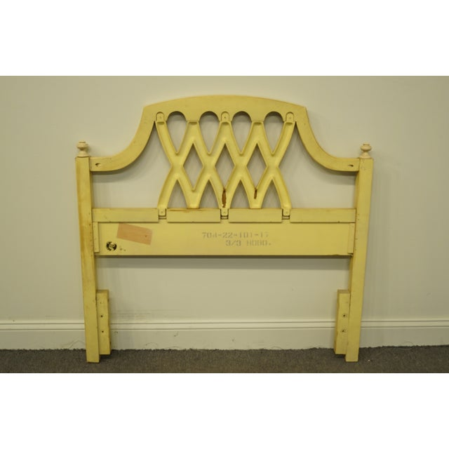 20th Century French Provincial Stanley Furniture Cream/Yellow Painted Twin Size Headboard For Sale In Kansas City - Image 6 of 9