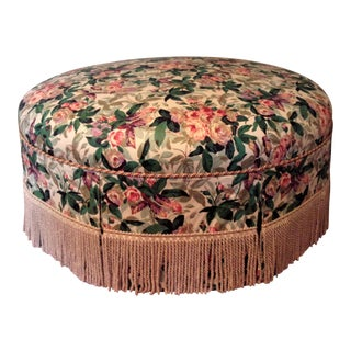 1970s Custom Upholstered Skirted Coffee Ottoman For Sale